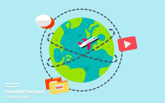 planeta rodeado por íconos de internet: correo youtube, chat