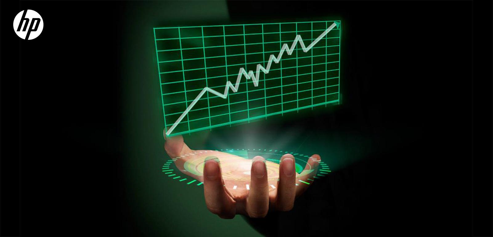 mano de hombre con holograma de una gráfica