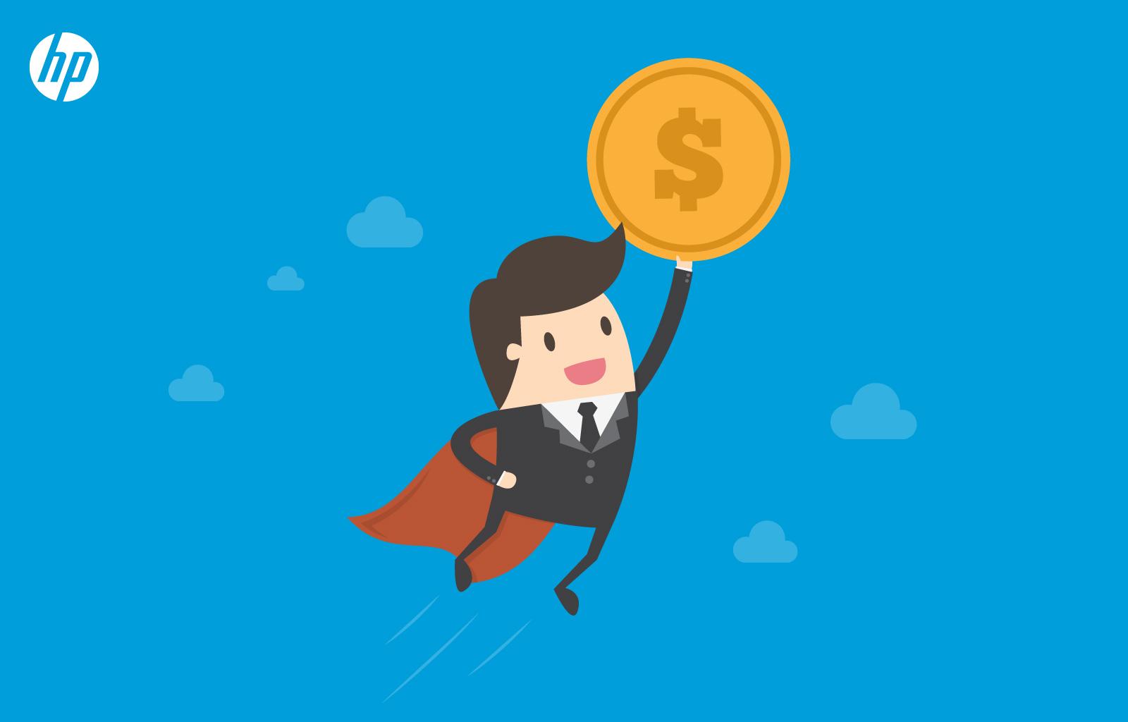 gráfico hombre con traje y capa de super héroe sosteniendo moneda con signo de dinero